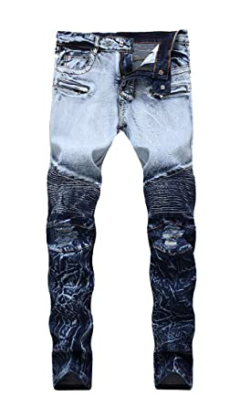 1f36ce2ddac Fubotevic Mens Biker Casual Patchwork Mid Waisted Regular Fit Ruched Denim  Jeans Pants 1 28
