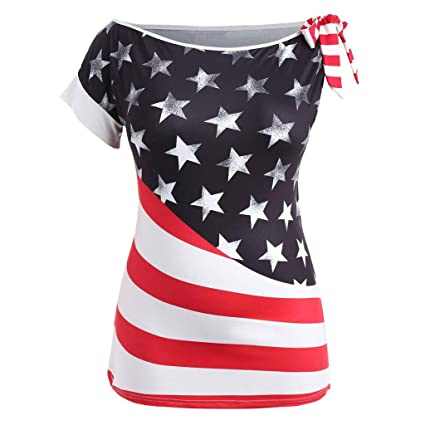 76bdc1e57cb Image Unavailable. Image not available for. Color  Fiaya 4th Of July Women  Clothes Blouse Plus Size Short Sleeve American Flag Loose T-