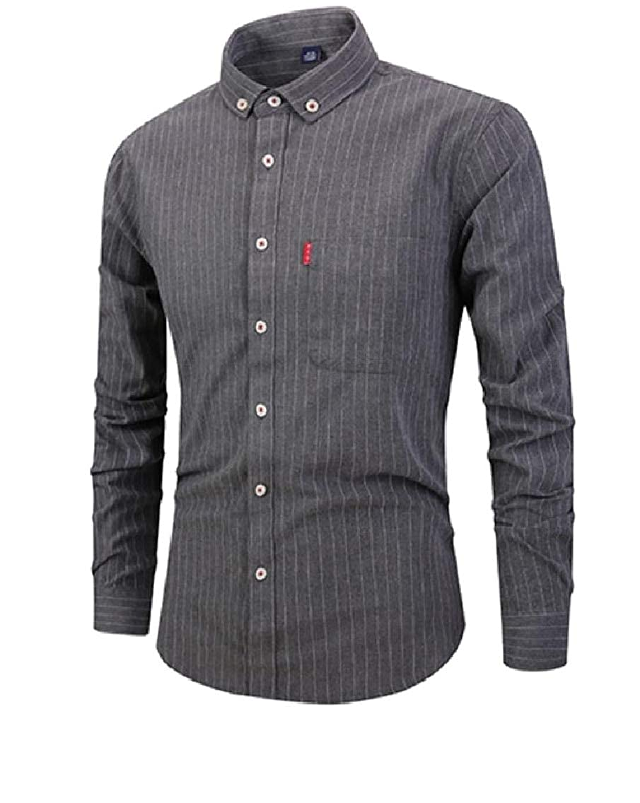 Coolred-Men Casual Button Shirt Long-Sleeve Stripe Business Blouse Tops