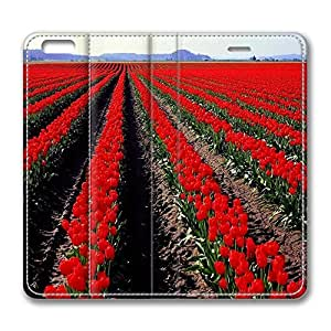 Brian114 6 Case, iPhone 6 Case - Best Protective Scratch-Proof Leather Cases for iPhone 6 Beautiful Red Tulips Field Customized Design Folio Flip Leather Case Cover for iPhone 6 4.7 Inch