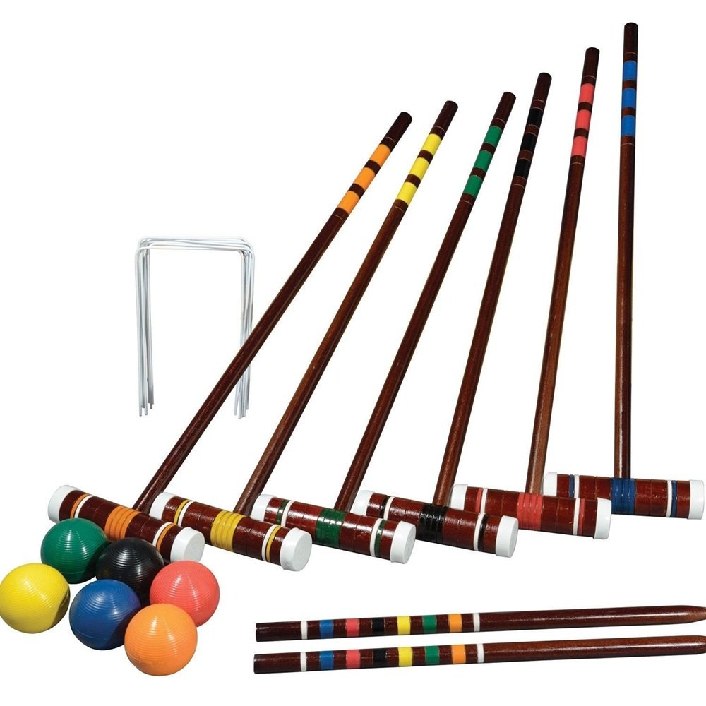 Angelwing Complete Croquet Set for 6 Players Outdoor Family Lawn Game Backyard Sports Play by Angelwing