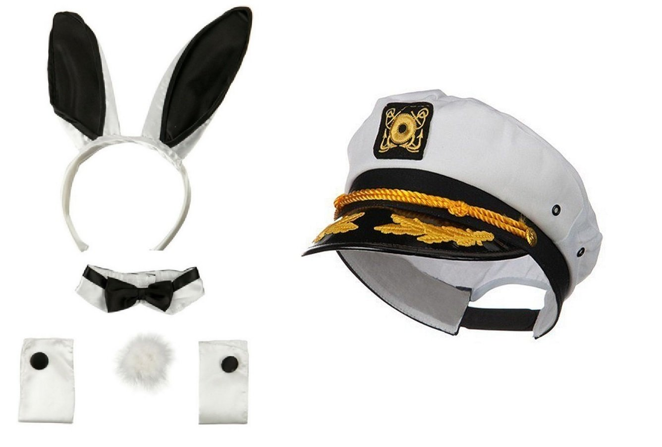 Nicky Bigs Novelties Sailor Ship Yacht Captain Hat Playboy Bunny Hugh Costume Kit Fisherman Bunnies