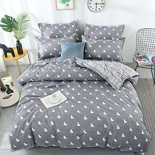KFZ Bed SET (Twin Full Queen King size) [4 piece: duvet cover, Flat sheet, 2 pillow cases] No comforter KSN Heart Love Strawberry Pineapple design for Kids Sheets Set (Arrow Love, Grey, King, 86''x94'')