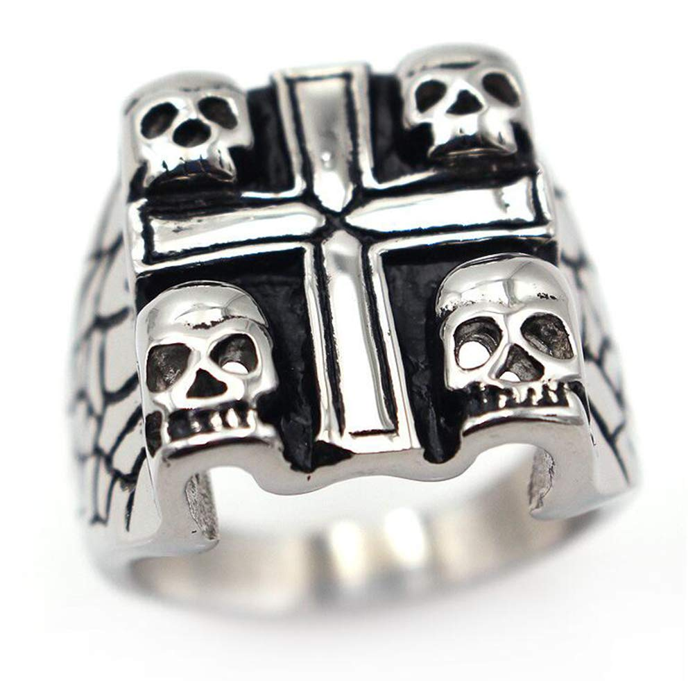 TEMEGO Jewelry Mens Stainless Steel Ring, Vintage Gothic Cross Skull Wing Band, Black Silver by TEMEGO (Image #1)