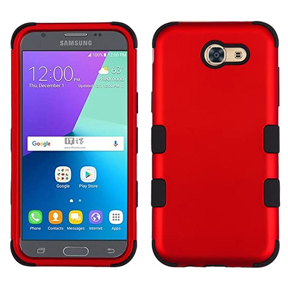 Samsung Galaxy J3 Eclipse Case - TUFF Series [Military-Grade Drop Tested]  Rugged Cover - [Crimson Red] and Atom LED