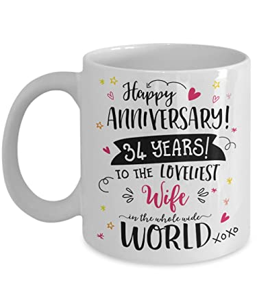 Image Unavailable. Image not available for. Color: 34th Wedding Anniversary Gifts ...