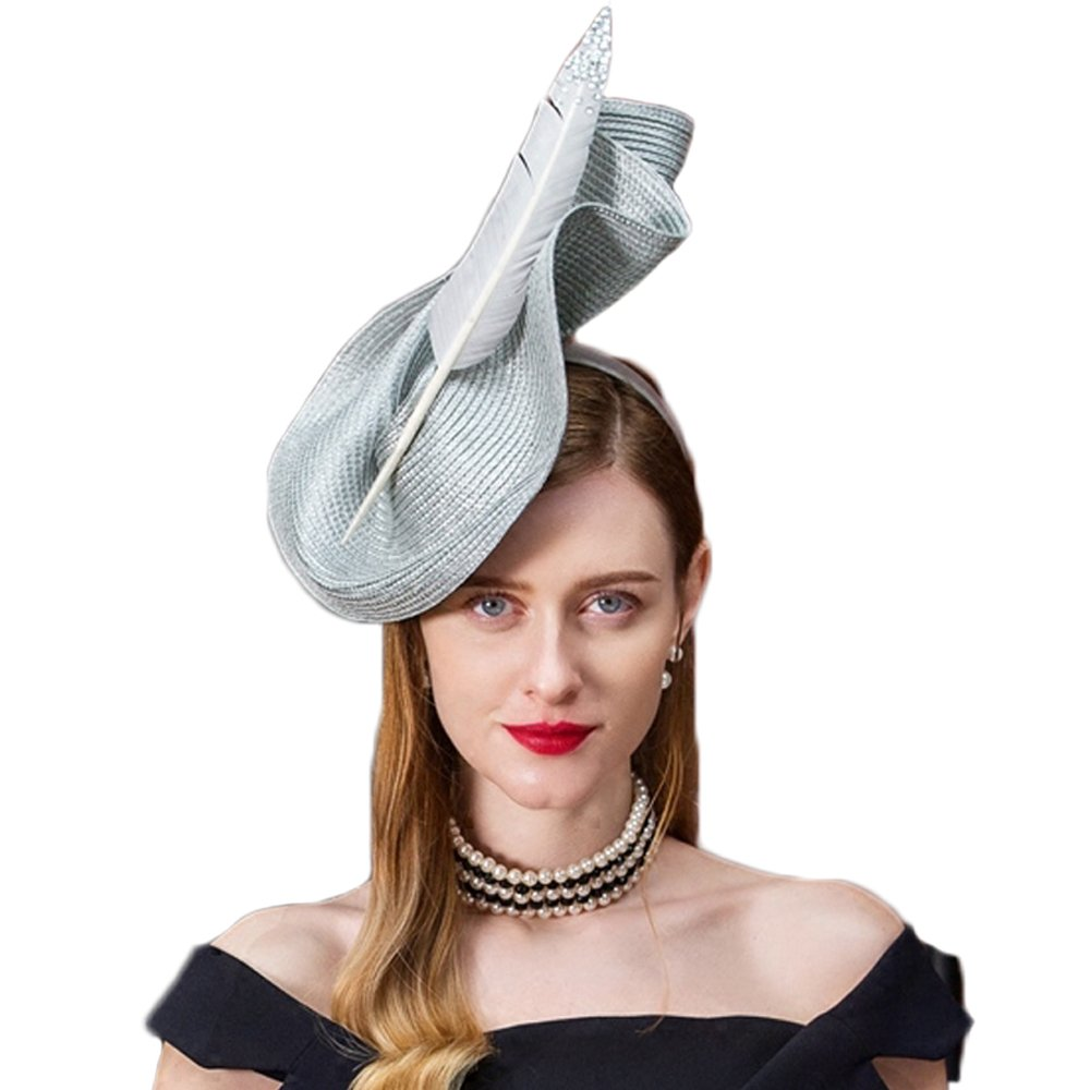 Fascinators Wedding Pillbox Hat Women Vintage Feather Bridal Hats