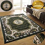 LA Rug Linens Colorful Chocolate Green Modern Contemporary Abstract Designer Hand Tufted 5×7 Bedroom Living Room Indoor Outdoor Rug Throw .5 Inch Thin Pile Height (Royal 101 Chocolate Green)
