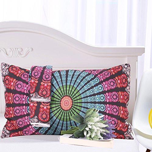 Sleepwish Mandala Pillow Cover Bohemian Flower Pillow Case Boho Pillows Decorative Throw Pillows Multi Red Blue Green 20x30 inches (I Case)