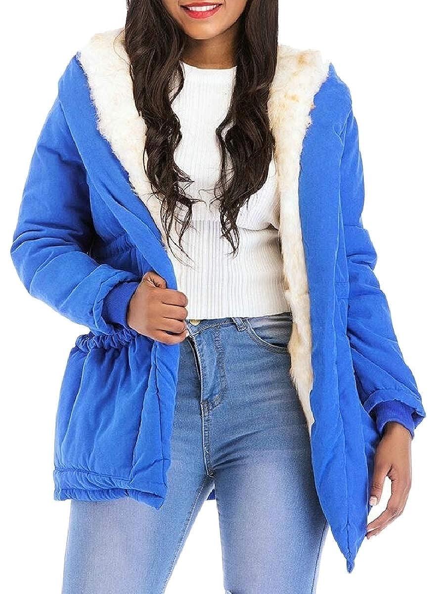 bluee LEISHOP Women Warm Hooded Fleece Lining Zipper Jackets Coat Outwear