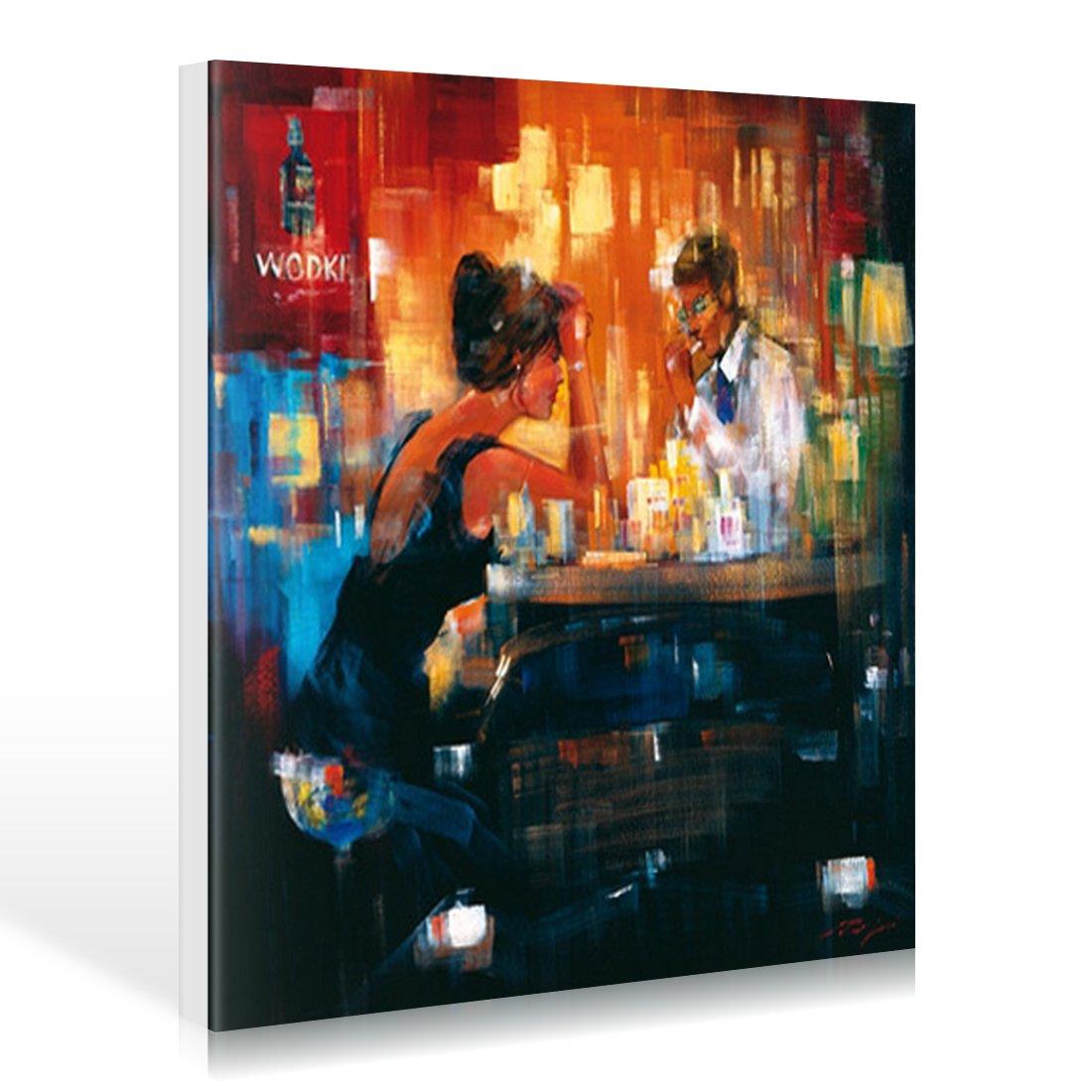 Art-Galerie Leinwandbild Madjid - Bar Scene I - 80 x 80cm - Premiumqualität - Modern, Barszene, Gesellschaft, Mann, Frau, Paar, Date, Getränke, Wodka, Dri. - Made in Germany SHOPde