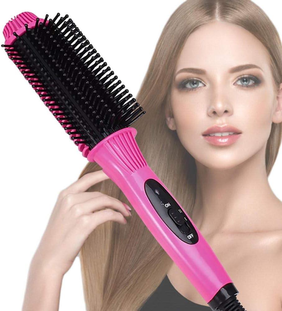 Plancha de pelo rizador 2 en 1 Anión Calor rápido Cepillo eléctrico para el cabello Cepillo Plancha Alisador Salón multifuncional Herramienta para rizar-rosa