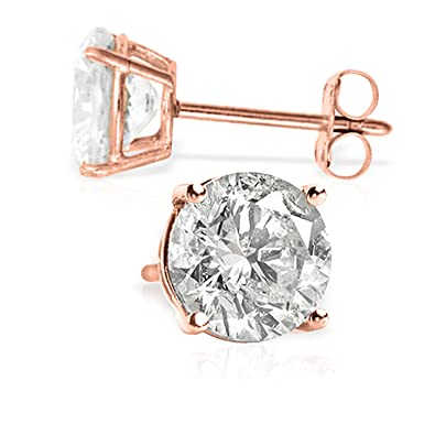 9f27de6227af0 Amazon.com: 14k Rose Gold Cubic Zirconia Stud Earrings: Jewelry