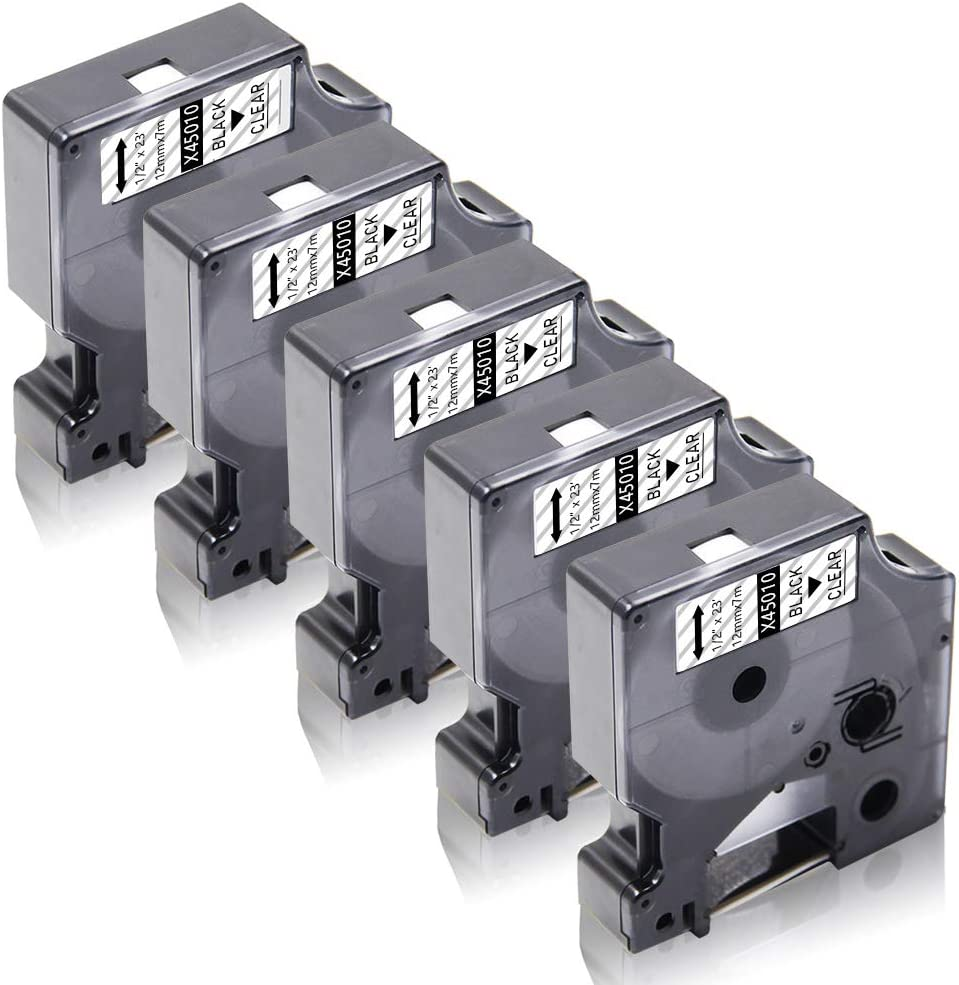 Xemax kompatibel Schriftb/änder Ersatz f/ür Dymo 45010 S0720500 Etikettenband f/ür Dymo LabelManager 160 280 300 450D 500TS PnP 5er Schwarz auf Transparent 12mm x 7m LabelPoint 200 300 400 450 Duo