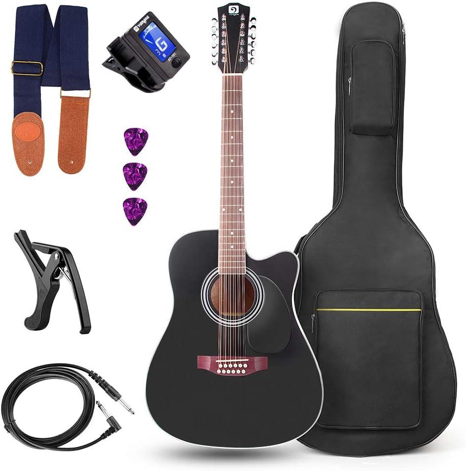 Vangoa Guitarra de 12 cuerdas 41 pulgadas Guitarra Electro Acústicas Ecualizador de 4 bandas con Kits de Inicio, Negro