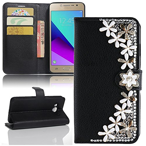 - Galaxy J2 Prime G532 Case, Galaxy Grand Prime Plus Case, Luxury 3D Bling Diamond PU Leather Flip Stand Wallet Case Card Slot Cover For Samsung J2 Prime SM-G532M Duos [Best Share], Black Flowers