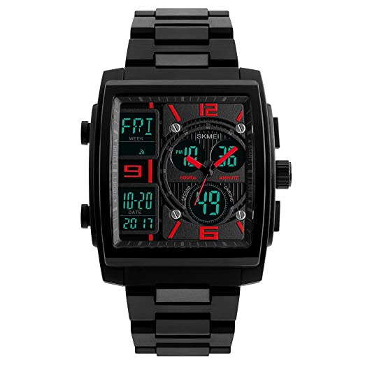 Reloj de pulsera digital para hombre, diseño deportivo y estilo militar, resistente al agua, militar, cronógrafo electrónico, correa de poliuretano, luz ...
