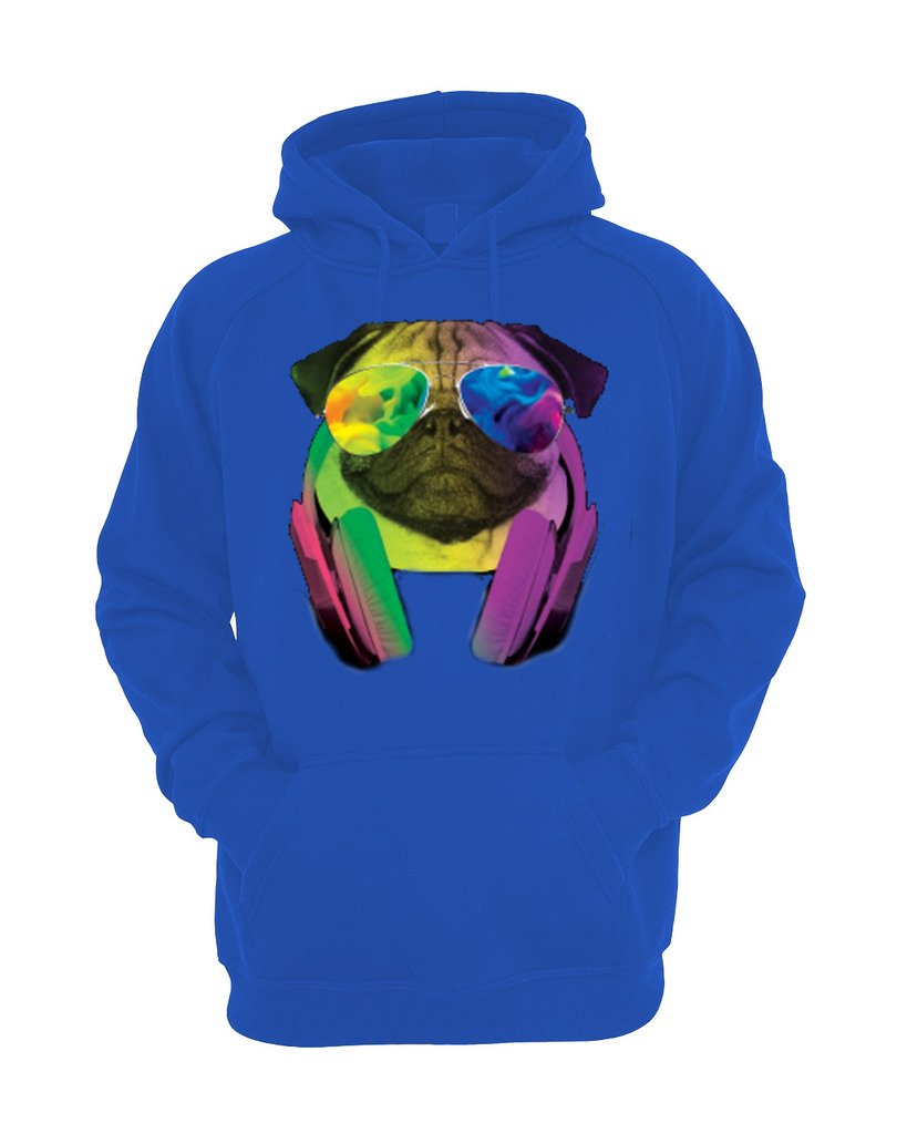 YM Wear Pug Sunglasses with Headphones Galaxy Logo Casual Hipster Crewneck Sweater 2X-Large Royal Blue