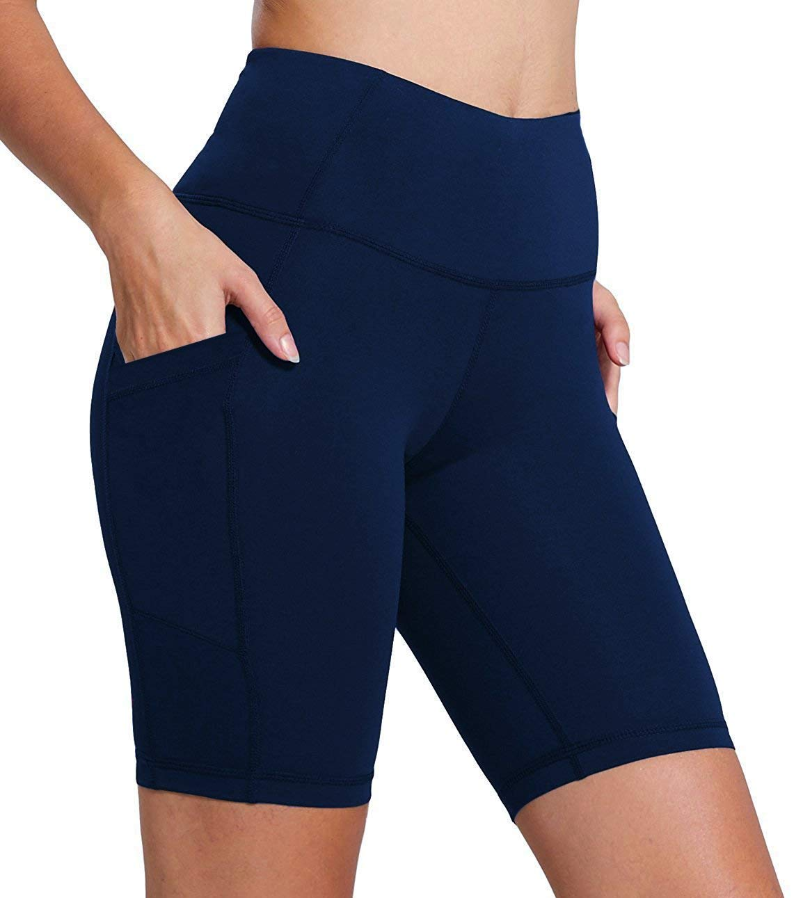 FIRM ABS Women's High Waist Yoga Shorts Compression Workout Shorts with Pocket Navy M