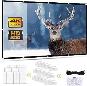 Outry - Pantalla para proyector (120 pulgadas, 16:9, pantalla de proyección plegable para cine en casa, cine al aire libre, proyección frontal y ...