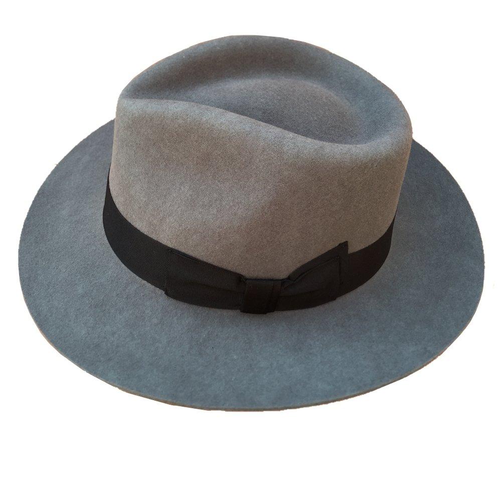 bd36bae05f5 Gray Men s Wool Felt Fedora Hat Gangsters Traditional Godfather Mafia Cap  at Amazon Men s Clothing store