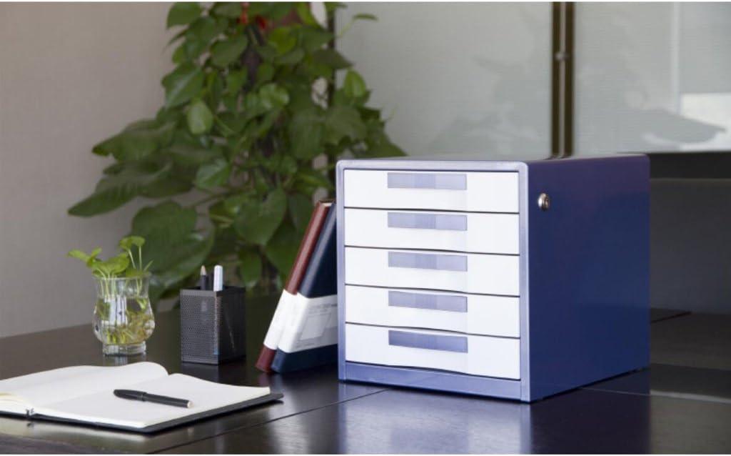 Color : Brown LQ File Cabinets 5 Layers Metal Lockable Desktop Drawer Cupboard Folder