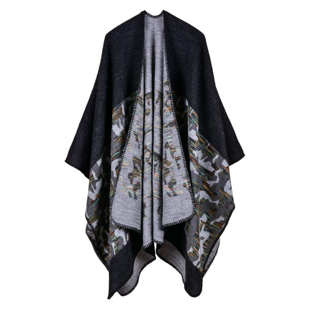 Women Winter Scarf Warmer Shawl Ladies Vintage Plaid Blanket Knit Wrap Cashmere Poncho Capes 19