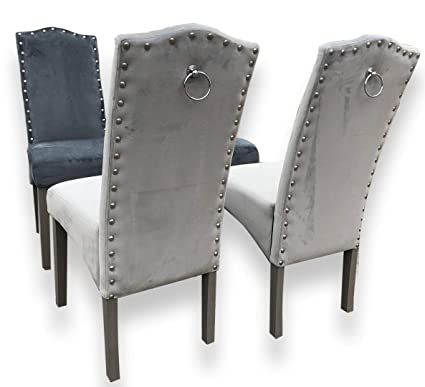 best service b68e6 80748 SET of 2 QUALITY Knockerback Velvet Dining Chairs - Dining, Kitchen, Chairs  2 (Light Grey)