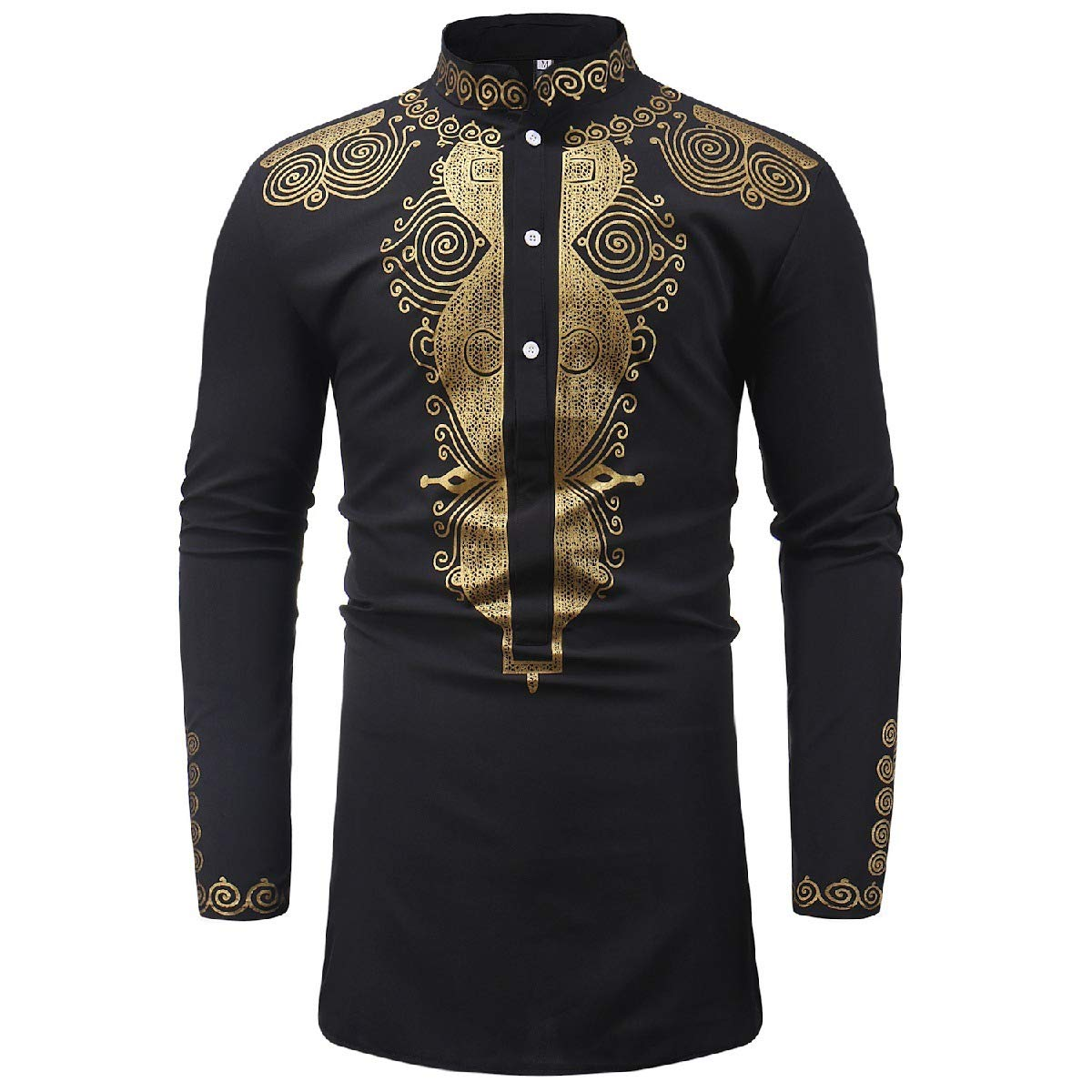 Sebaby Mens African Ethnic Style Stand Collar Long-Sleeve Longshirt