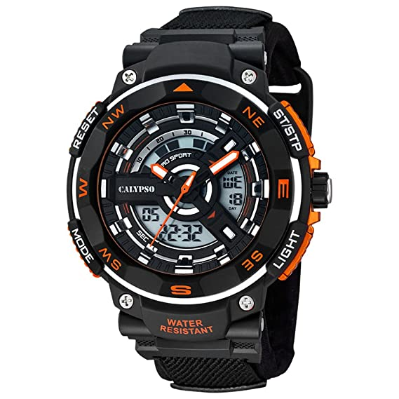 Calypso hombre-reloj deportivo textil-pulsera cuarzo-reloj negro esfera de colour negro