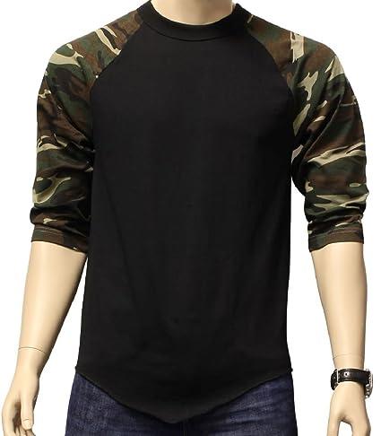 c89abeaa Amazon.com: Beth Sport New 3/4 Sleeve Camo Raglan Baseball Mens Army  Camouflage Sports T-Shirt S-3XL: Sports & Outdoors