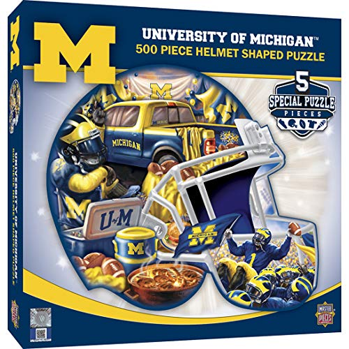 - MasterPieces NCAA Michigan Wolverines 500 Piece Helmet Shaped Jigsaw Puzzle