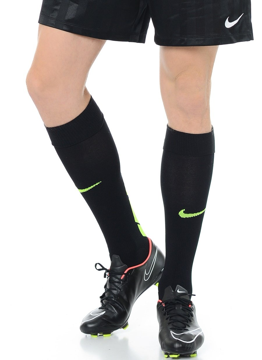 Nike Men`s Max Fit Over-the-Calf Soccer Socks (X-Small, Black (SX4855-070) / Volt/Heather Grey) by Nike