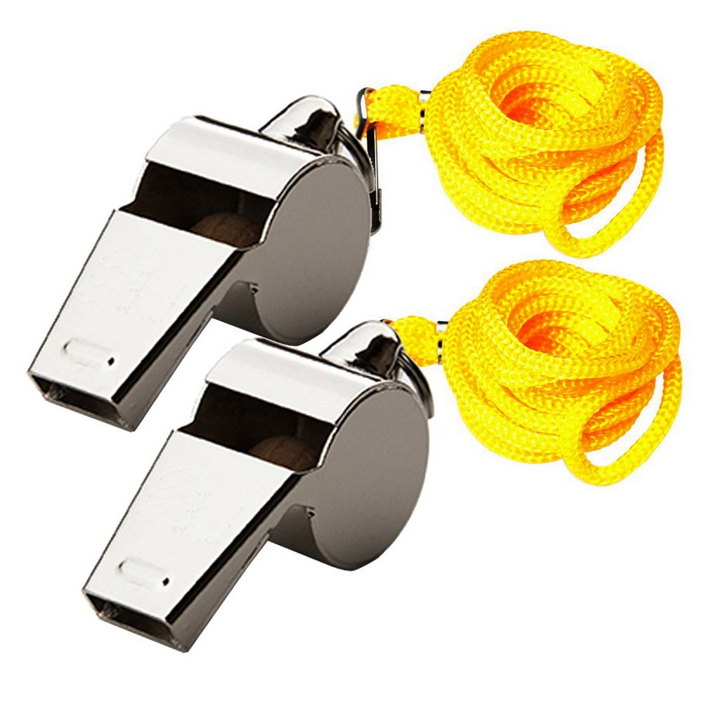 Color Scissor 2 Pack Stainless Steel Referee Whistle, Metal Sports Coach Whistle With Lanyard For Soccer, Football, Basketball