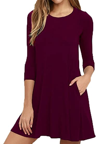 587860aad30e 3 4 Sleeve Swing T Shirt Dresses for Women Large Wine Red at Amazon ...