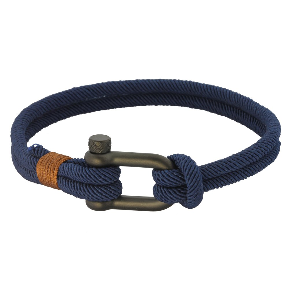 Fabric Rope Ankle Wrist Friendship Surf Bracelet in Navy Blue/Brown with a Nautical Anchor Shackle Clasp - Hawaiian Jewelry Gift For Stylish Men, Women, Boys and Girls. Cool Gift for Her and Him.
