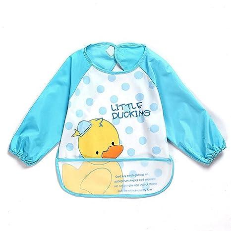 Oral-QUnisex Kids Childs artesanía pintura impermeable delantal de bebé babero con mangas y bolsillo