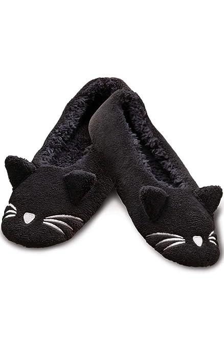 PajamaGram Cat Slippers for Women - Washable Women's Slippers, Black, 7/8