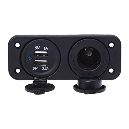 Cikuso Encendedor del Coche del zocalo del Cargador con 2 Puertos USB 12V para el Coche Auto Moto