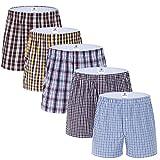 MOACC Men's Woven Boxer Shorts,5 Pack Trunks Tartan Assorted Underwear