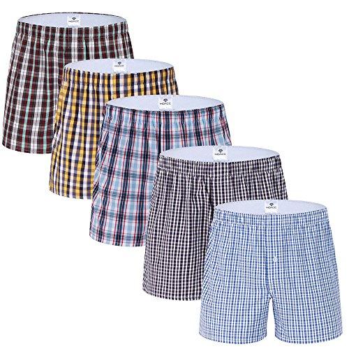 Cotton Woven Boxers (Men's Cotton Woven Boxer Shorts,5 Pack Trunks Stripe Assorted Underwear (L, Type 2))