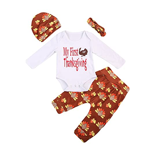 3d63cd8e8 Image Unavailable. Image not available for. Color: Caibiet Newborn Baby  Thanksgiving 4pcs Set Outfit Toddler Infant Boys Girls Long Sleeve Romper  ...