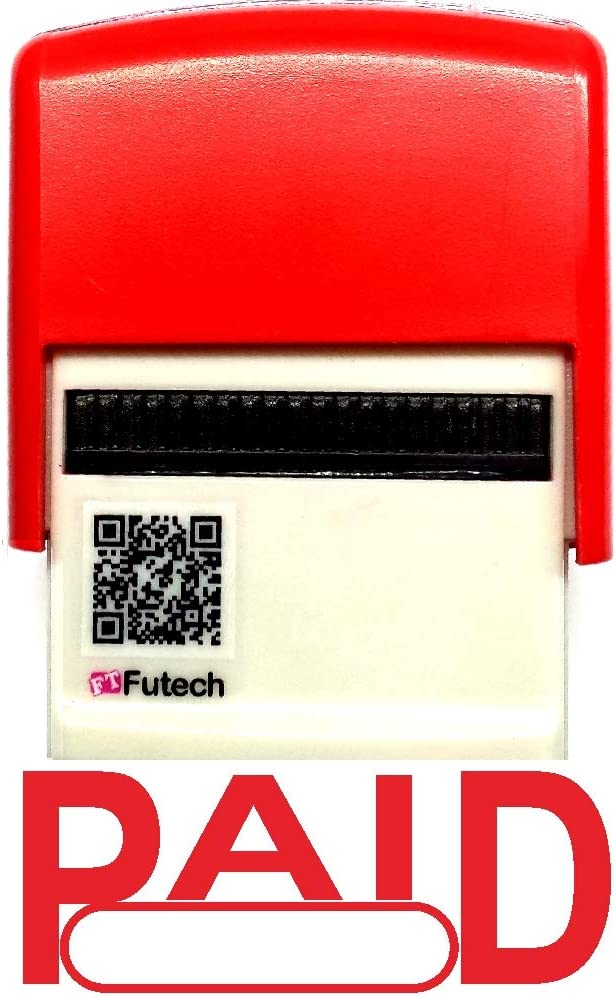Paid Stamp Text with Date Box on Self-Inking Rubber Stamp,RED Ink - FUTECH