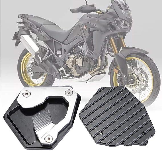 DONXIANFENG Cavalletto for motocicli Cavalletto laterale del piede di estensione rilievo piastra di supporto Fit Honda CRF CRF1000L 1000L Africa Twin ABS//DCT 2016 2017 Color : Silver
