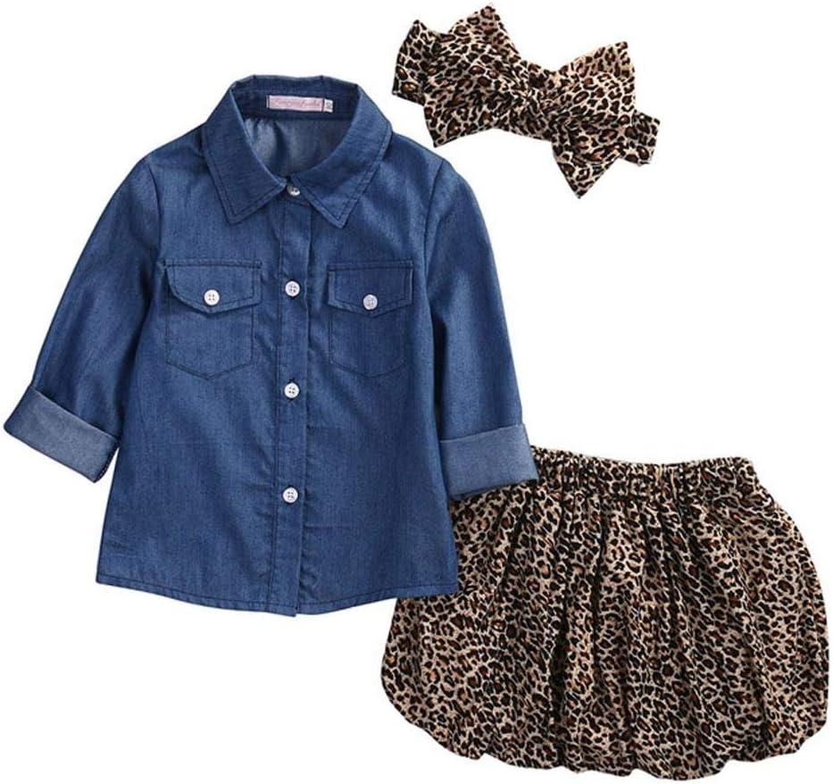 UMIWE - Camisa Vaquera de Leopardo para bebé y niña, con Diadema, Juego de Ropa de 80 – 120 cm de Altura para niños, 120 cm: Amazon.es: Hogar