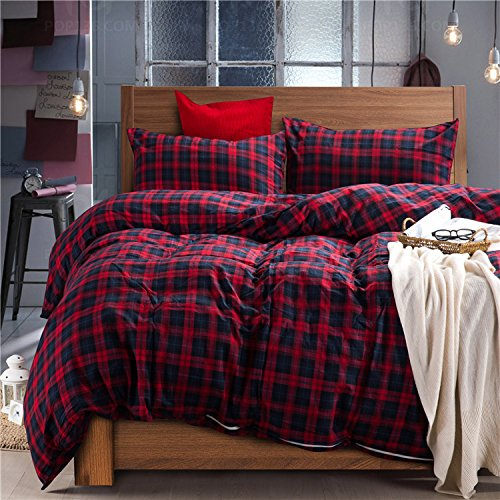 Deep Sleep Home 100% Cotton Flannel Fabric 300 Thread Count Percale Dark Red Blue Plaid Design 4pc Duvet Cover Set Christmas Gift Wrinkle Resistance Full/Queen Size(Queen, Dark Red-ED)