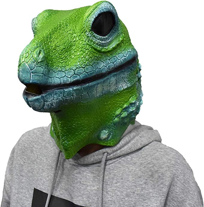 Mens Ladies Frog Rubber Face Mask Animal Halloween Fancy Dress Costume Outfit