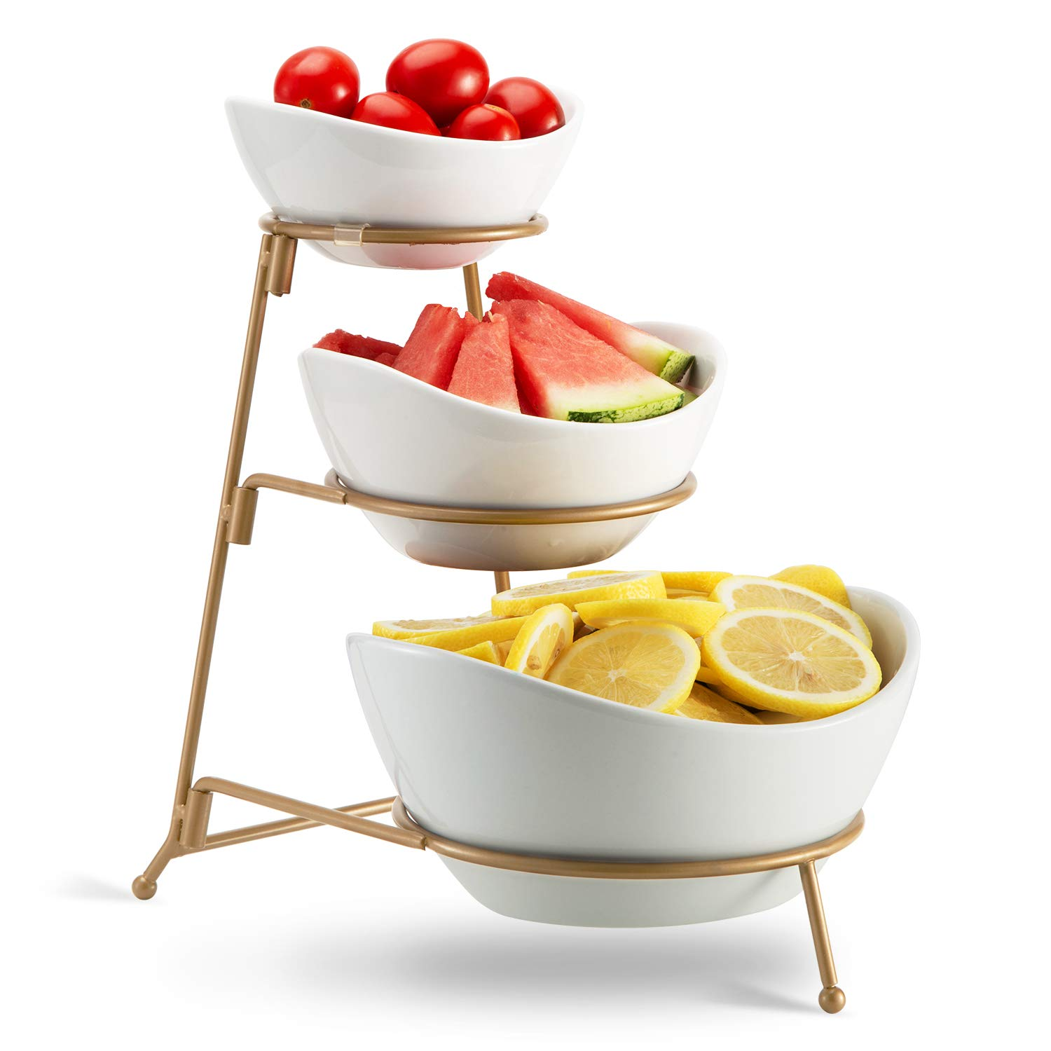3 Tier Oval Bowl Set with Metal Rack,HabiLife Three Ceramic Fruit Bowl Serving - Tiered Serving Stand - Dessert Appetizer Cake Candy Chip Dip (Gold) by HabiLife