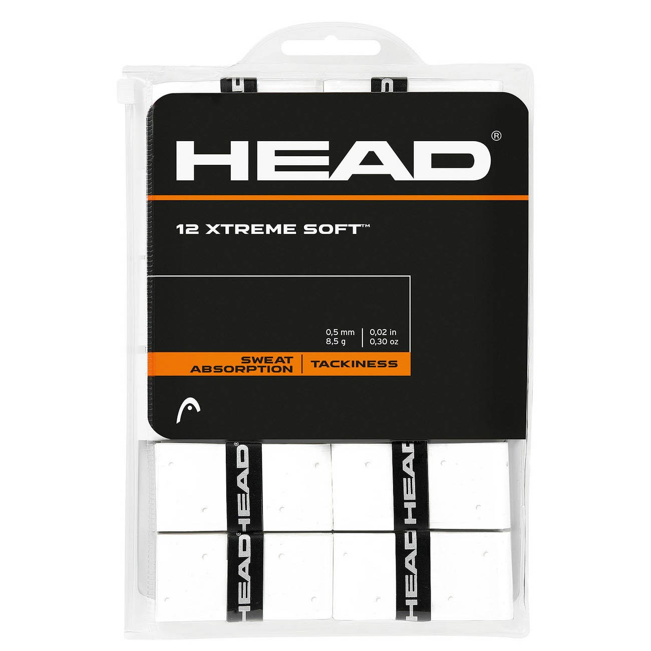 12 Overgrip Head Xtreme Soft Tennis Grips Bianco 285405-WH