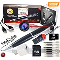 FabQuality 1080p HD Hidden Camera Spy Pen BUNDLE 16GB SD Micro Card + USB card Reader + 7 INK FILLS + updated battery + USB Plug! - Record Executive Multifunction DVR. Perfect Gift - Easy to Use